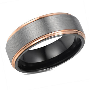Brushed Mens Wedding Band Tungsten Ring Rose Gold Stepped Edges Wedding Ring