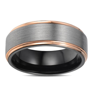 Mens Wedding Band Tungsten Ring Rose Gold Stepped Edges Anniversary Ring