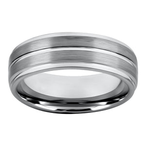 Tungsten Ring for Mens Wedding Band Brushed Centered Shiny Ridge