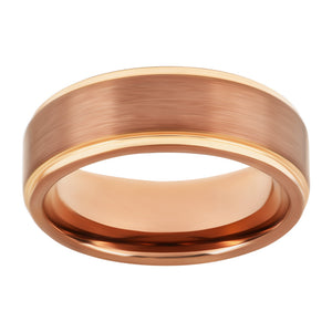 Mens Tungsten Wedding Band Brushed Brown Band with Rose Gold Stepped Edges Ring for Men