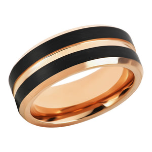 Tungsten Ring for Mens Tungsten Wedding Band Rose Gold Black Band