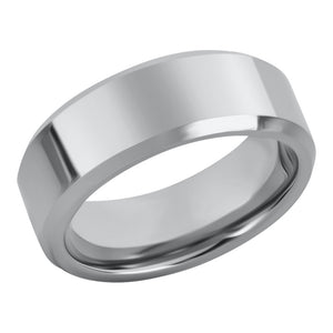 Simple Classic Plain Wedding Band For Men Tungsten Ring Polished with Beveled Edges