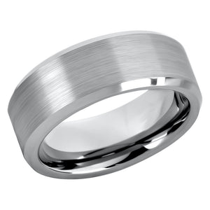 Tungsten Ring for Mens Wedding Band Brushed Center Shiny Beveled Edges