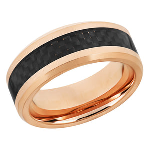 Carbon Fiber Inlay Rose Gold Wedding Band Tungsten Wedding Ring For Men
