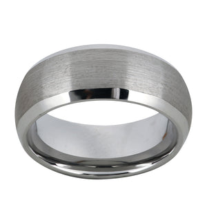 Brushed Tungsten Ring Mens Wedding Band Domed Band Beveled Edges