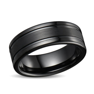Tungsten Ring Men Wedding Band Brushed Center Two Ridges Black Tungsten Ring