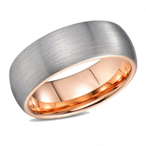 Dome Wedding Band for Men Rose Gold Tungsten Ring Brushed Domed Band