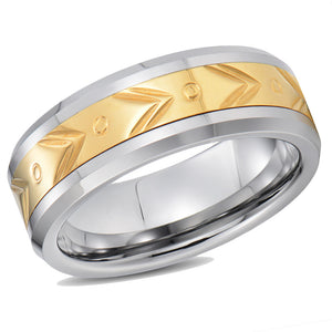 Gold Designs Inlay Mens Tungsten Wedding Band Domed Band Tungsten Promise Ring For Men