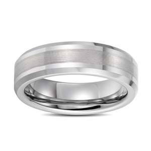 Mens Wedding Band Tungsten Wedding Ring For Men Brushed Stripes Polished Center