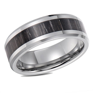 Black Exotic Wood Inlay Wedding Band Tungsten Wedding Ring For Men Beveled Edges