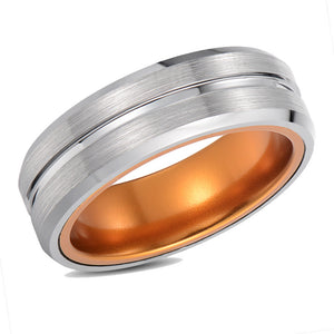 Titanium Inlay Men Tungsten Wedding Band Tungsten Carbide Wedding Ring Anniversary