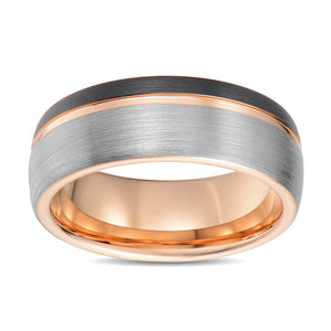 Tungsten Wedding Band Men Anniversary Promise Ring Black and Rose Gold Brushed Domed Band