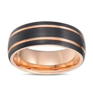 Black Tungsten Ring Domed Wedding Band for Men 2 Rose Gold Ridges