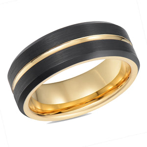 Gold Mens Wedding Band Tungsten Ring Black Wedding Ring Gold Centered Ridge