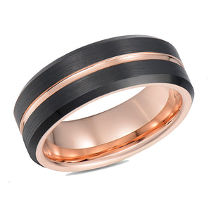 Rose Gold Mens Wedding Band Tungsten Ring Black Wedding Ring Rose Gold Ridge