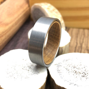 Whiskey Barrel Wood Inner Sleeve with Flat Satin Brushed Tungsten Mens Wedding Band