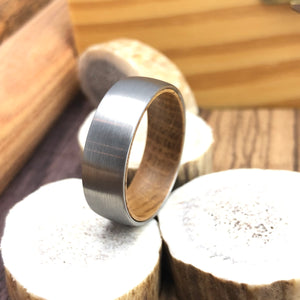 Whiskey Barrel Wood Inner Sleeve with Domed Satin Brushed Tungsten Mens Wedding Band