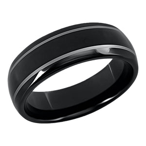 Black Tungsten Ring Domed Band Wedding Band for Men 2 Ridges