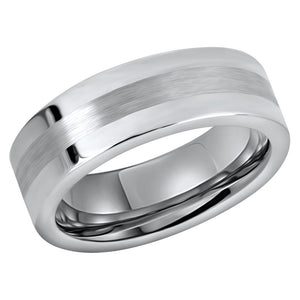 Tungsten Ring for Mens Wedding Band Brushed Center Shiny Flat Edges