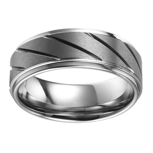 Brushed Mens Wedding Band Tungsten Ring Brushed Center Ridged Flat Band