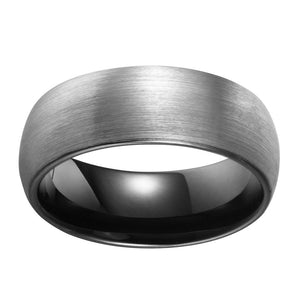 Brushed Black Mens Wedding Band Tungsten Ring Brushed Center Dome Band