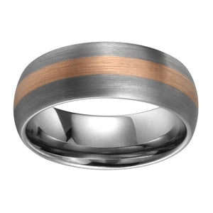 Rose Gold Inlay Mens Tungsten Wedding Band Domed Band Tungsten Ring For Men