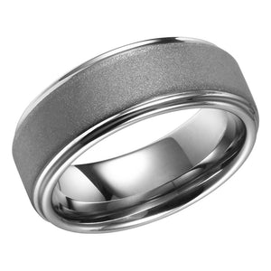 Sand Blasted Tungsten Ring Mens Wedding Band Flat Band With Stepped Edges