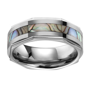 Sea Shell Inlay Mens Tungsten Wedding Band Octagon Edges Tungsten Ring For Men