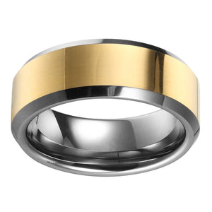 Gold Mens Wedding Band Tungsten Ring Flat Band With Gold Plated