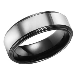 Mens Wedding Band Tungsten Ring Polished Center Flat Band Stepped Edges