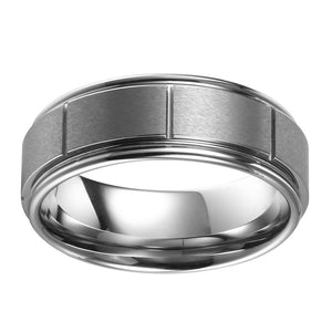 Brushed Mens Wedding Band Tungsten Wedding Ring Brushed Center Ridged Flat Band