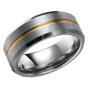 Mens Wedding Band Tungsten Ring Flat Band With Gold Ridge