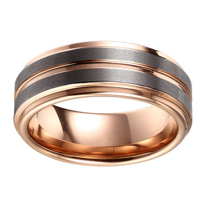Double Brushed Mens Wedding Band Tungsten Ring Rose Gold Wedding Ring