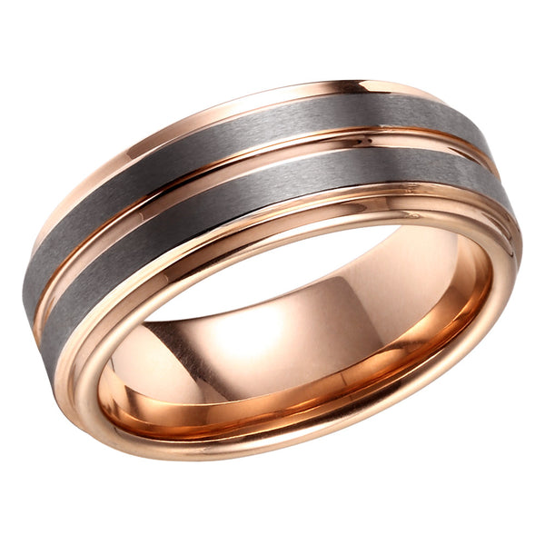 Double Brushed Mens Wedding Band Tungsten Ring Rose Gold Wedding