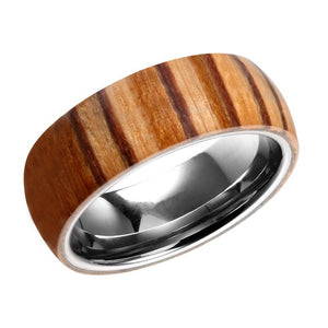 Tungsten With Wood Wrapped Mens Wedding Band Wood Anniversary Ring For Men