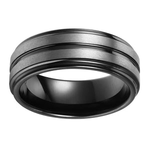 Double Brushed Mens Wedding Band Tungsten Ring Black Wedding Ring