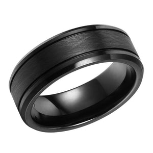 Brushed Mens Wedding Band Tungsten Ring Black Wedding Ring