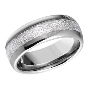 Artificial Meteorite Inlay Tungsten Mens Wedding Band Domed Tungsten Anniversary Ring for Men