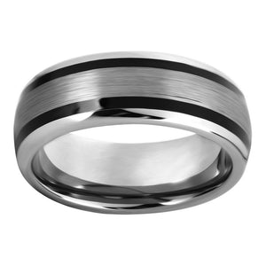 Black Tungsten Ring Domed Band Wedding Band for Men 2 Black Resin Inlay