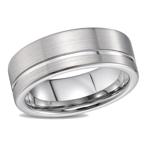 Brushed Mens Wedding Band Tungsten Ring Brushed Off Center Ridged Flat Band