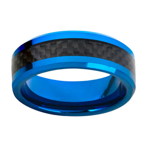 Blue Wedding Band Tungsten Wedding Ring For Men Carbon Fiber Inlay