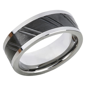 Brushed Black Steel Inlay Wedding Band Tungsten Wedding Ring For Men Diagnose Ridges