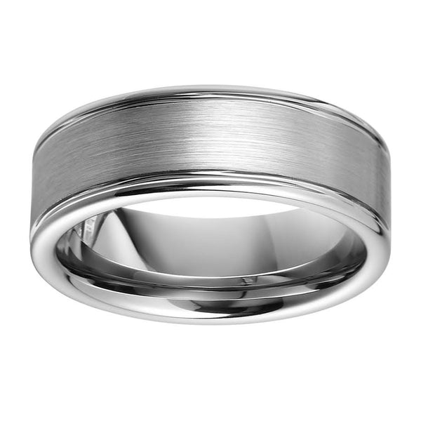 Classic Tungsten Mens Wedding Band 2 Ridges And Brushed Tungsten Ring  Anniversary Ring For Men Classic Tungsten Mens Wedding Band 2 Ridges And  Brushed ...