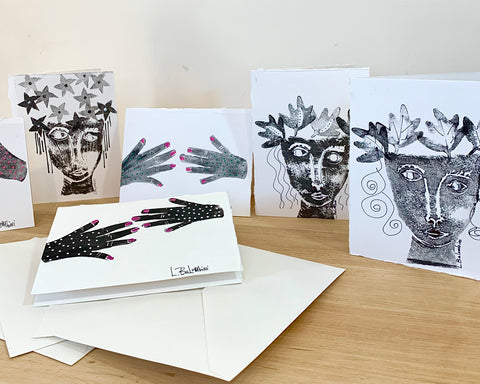 Hand Printed set of 6 Notecards / envelopes ( faces & hands)