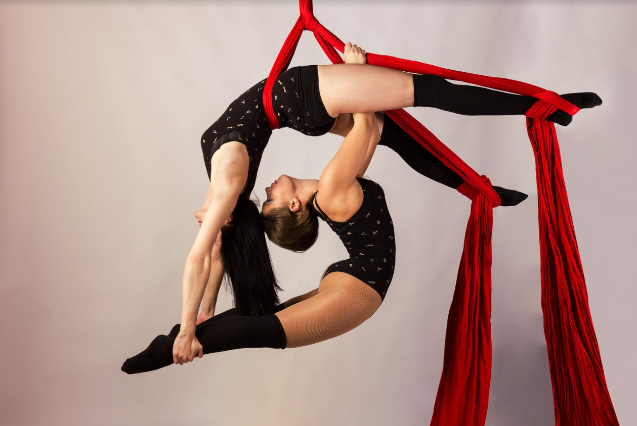 Aerial Silks Doubles Pose with balay and backbend