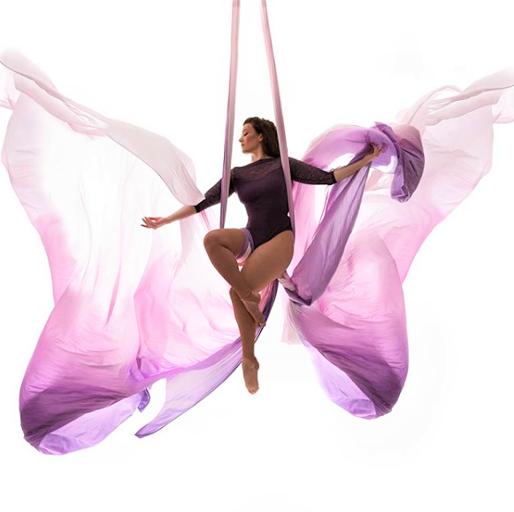 Woman on Purple Ombre Aerial Silks