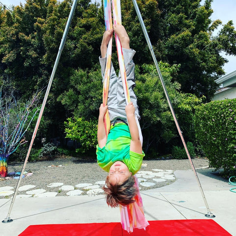 Boy on Aerial Silks and Portable Rig - Aerial Arts for Kids