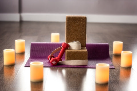 Meditation Space at Home Candles and Fitness Gear
