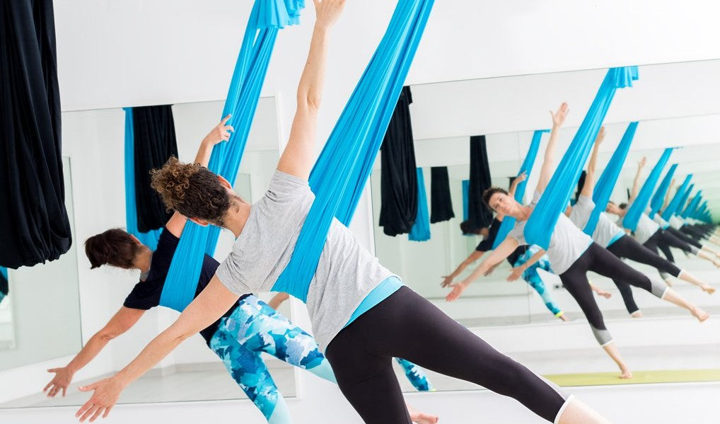 Blue and Black Aerial Yoga Gear Studio