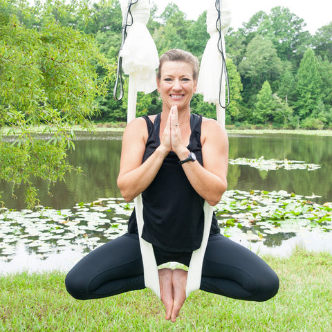 Sonya in butterfly pose X Uplift Active